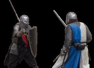 Dessin de deux chevaliers en armure avec leur épée