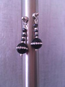 Boucles d'oreille en onyx noir et argent