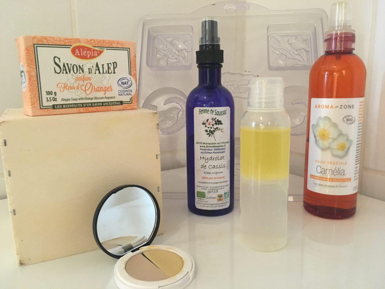 Ensemble de produits slow cosmétiques et de matériel de cosmétique maison
