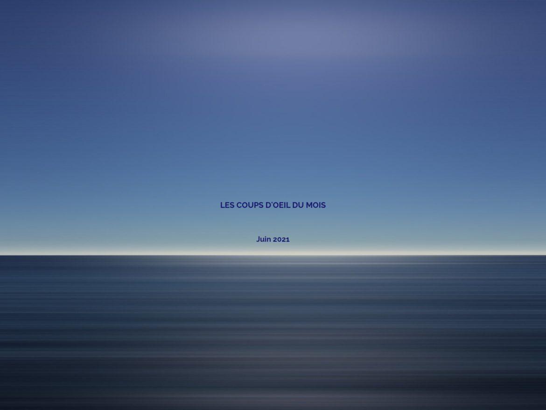 Image de ciel et d'océan sur laquelle est écrit : Les coups d'oeil du mois, Juin 2021